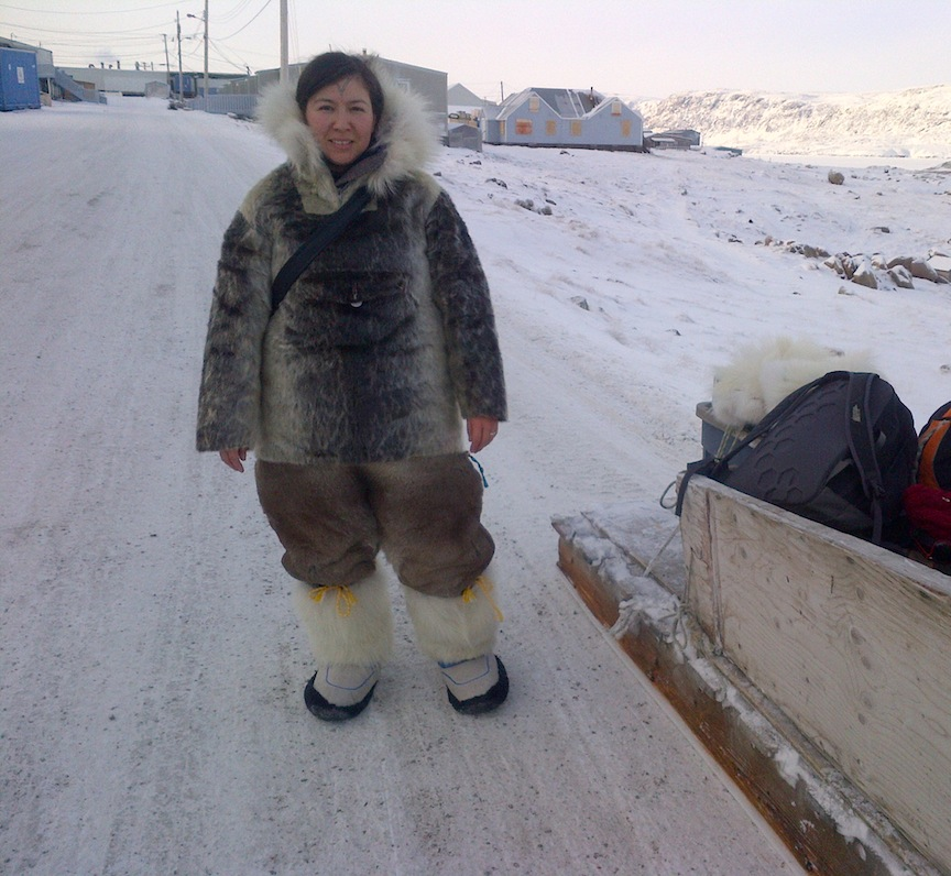 Sealskin coat, caribou fur pants, wolf fur boots, borrowed from Aaju Peter.